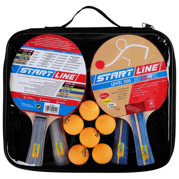 Набор для настольного тенниса, 4 ракетки Level 200, 6 мячей Club Select
