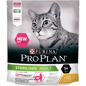 Сухой корм PRO PLAN для стерилизованных кошек с чувствительным пищеварением, курица, 400 г
