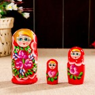 """Matryoshka """"Flowers"""", a red scarf, 3 puppet-10 cm"""