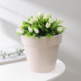 Кашпо со вставкой «Порто», 2,4 л, цвет жемчужный