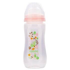 Бутылочка BABOO с силиконовой соской, широкая, 330 мл, Flora, от 3 месяцев