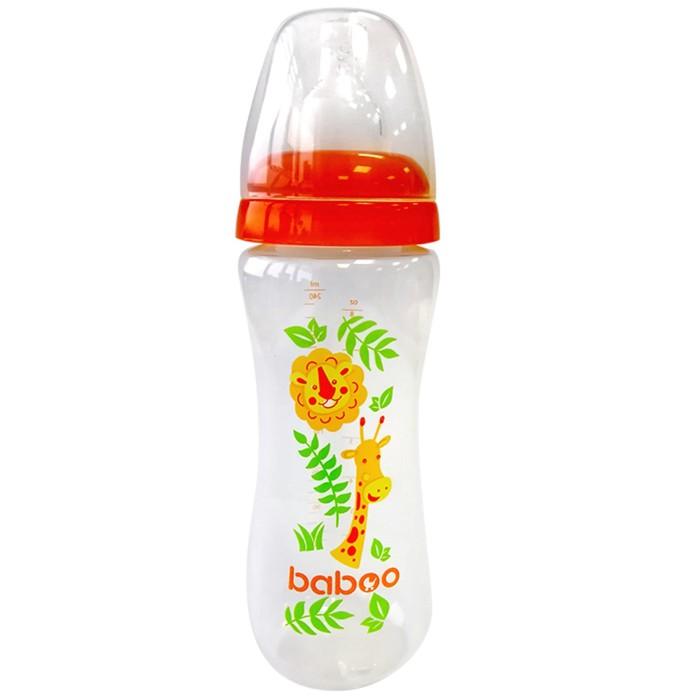 Бутылочка BABOO с силиконовой соской, узкая, 240 мл, Safari, от 3 месяцев