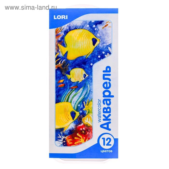 Акварель Lori, 12 цветов, мягкий пластик, картон, с кистью
