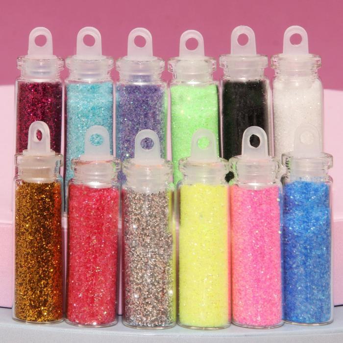 Блёстки для декора ногтей мелкие, 12 бутылочек, цвет МИКС