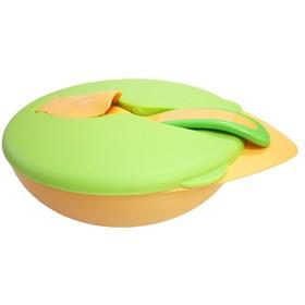 Тарелка BABOO c крышкой и ложкой, от 6 месяцев, цвет МИКС