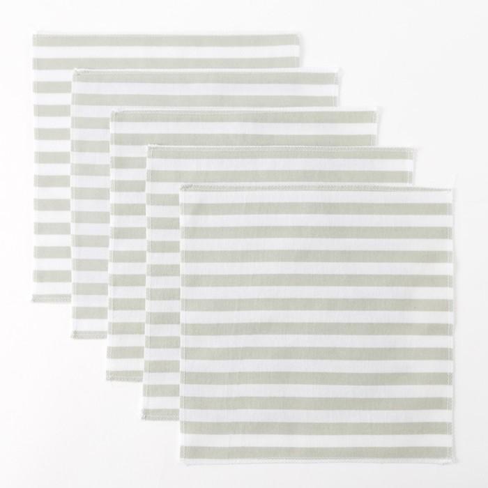 Набор платков Крошка Я «Полоски» 25×25 см - 5 шт, фланель, 160 г/м², 100% хлопок