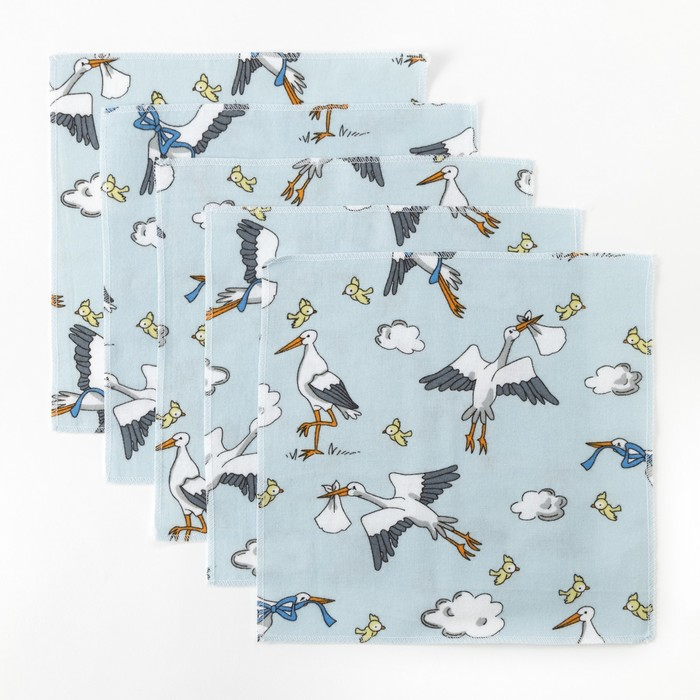 Набор платков Крошка Я «Аисты» 25×25 см - 5 шт, фланель, 160 г/м², 100% хлопок