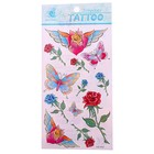 """Татуировка на тело """"Бабочки и розы"""", цветная"""