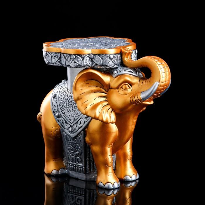 """Подставка напольная """"Слон"""" 34 см, золотистый, серебристый"""