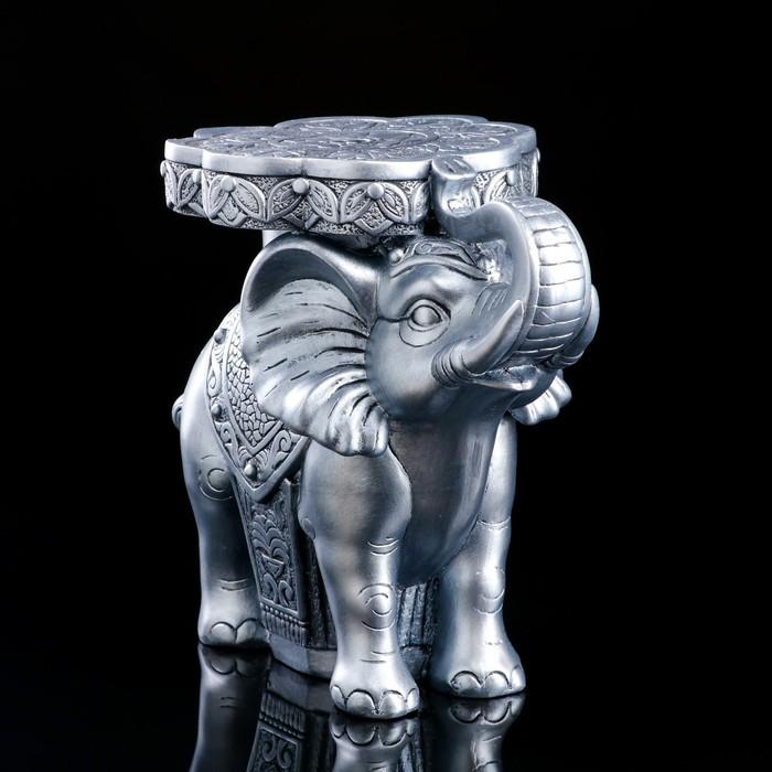 """Сувенир """"Слон"""", серебристая, 34 см"""