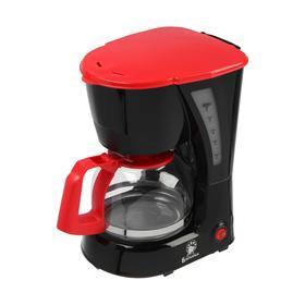 """Кофеварка """"ВАСИЛИСА"""" КВ1-600, капельная, 600 Вт, 0.6 л, чёрно-красная"""