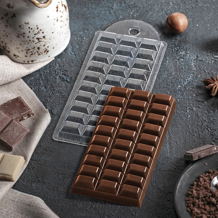 "Форма для шоколада 7×15×1 см ""Шоколад тёмный"""