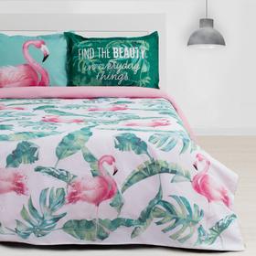 """Постельное бельё """"Этель"""" евро Фламинго 200х217 см, 220х240 см, 50х70+3 см - 2 шт"""