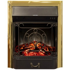 "Электроочаг Majestic Lux Brass, 20"", 1500 Вт, 2 режима обогрева, звук потрескивания дров"