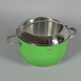Кастрюля NÁDOBA Kvetunka, 5,5 л, d=24 см, стеклянная крышка, цвет зелёный
