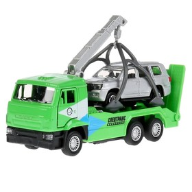 Набор металлических инерционных машин «Камаз-эвакуатор + Toyota Land Cruiser», 12 см и 7,5 см