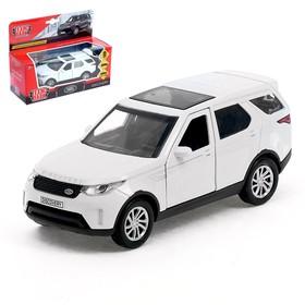 Машина металлическая инерционная Land Rover Discovery, цвет белый, открываются двери, 12 см