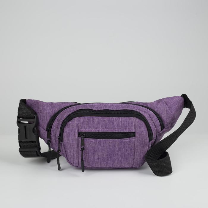 Сумка поясная, отдел на молнии, наружный карман, цвет сиреневый
