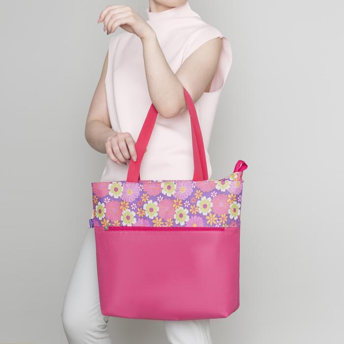 Сумка летняя, отдел на молнии, без подклада, наружный карман, цвет розовый