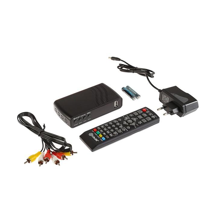 Приставка для цифрового ТВ D-COLOR DC937HD. FullHD, DVB-T2, дисплей, HDMI, RCA, USB, черная