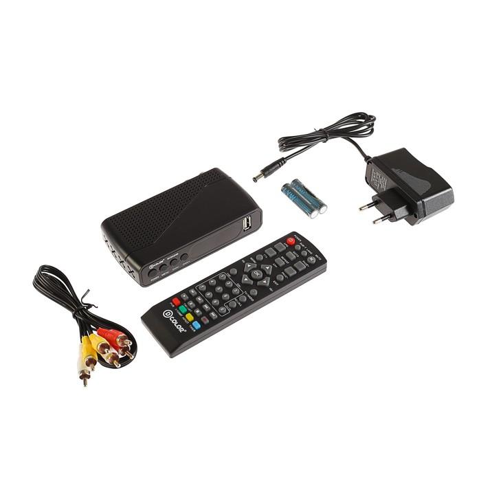 Приставка для цифрового ТВ D-COLOR DC922HD. FullHD, DVB-T2, дисплей, HDMI, RCA, USB, черная