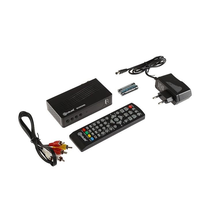 Приставка для цифрового ТВ D-COLOR DC955HD. FullHD, DVB-T2, дисплей, HDMI, RCA, USB, черная