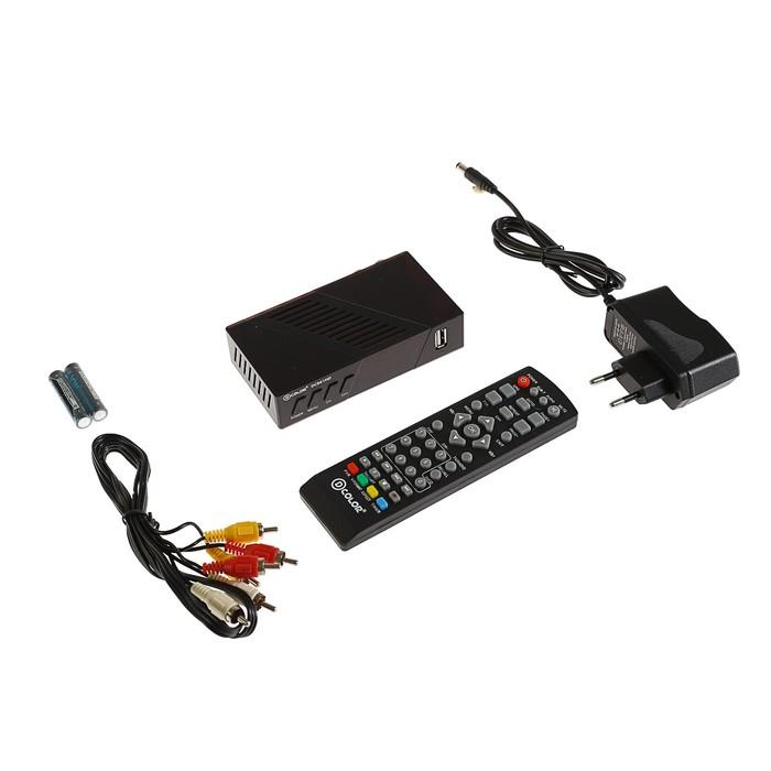 Приставка для цифрового ТВ D-COLOR DC961HD. FullHD, DVB-T2, дисплей, HDMI, RCA, USB, черная