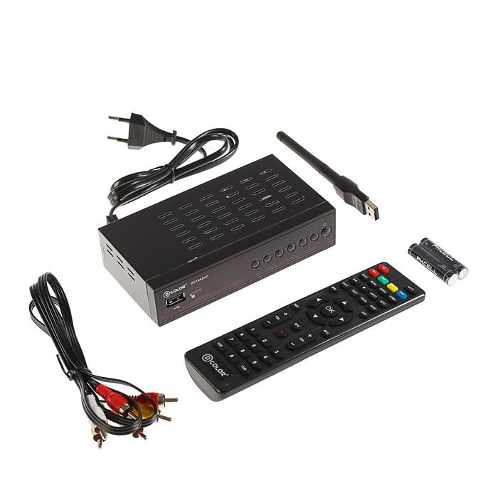 Приставка для цифрового ТВ D-COLOR DC1602HD, FullHD, DVB-T2, дисплей, HDMI, RCA, USB, Wi-Fi