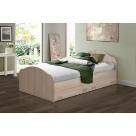 Кровать на уголках №1 с ящиками, 700 × 2000 мм, цвет ясень шимо светлый