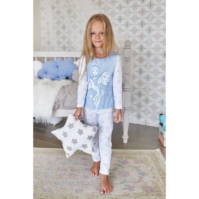 """Лонгслив детский Disney """"Принцессы"""", рост 110-116 (32), голубой/белый"""