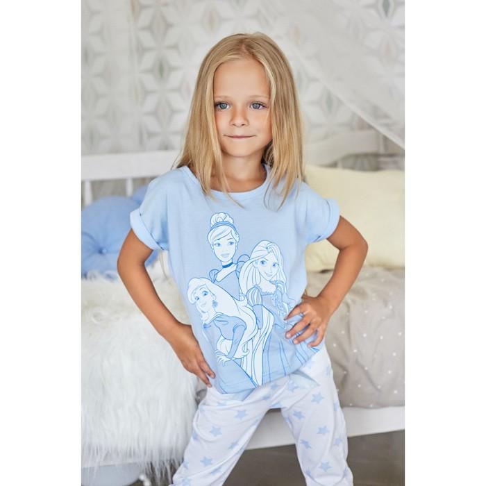 """Футболка детская Disney """"Принцессы"""", рост 98-104 (30), голубой"""