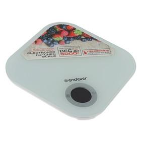 Весы кухонные Endever KS-530, электронные, до 5 кг, закаленное стекло, белые