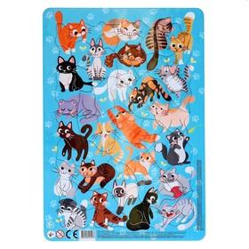 Пазл в рамке «Коты», 53 элемента, вырубка МИКС