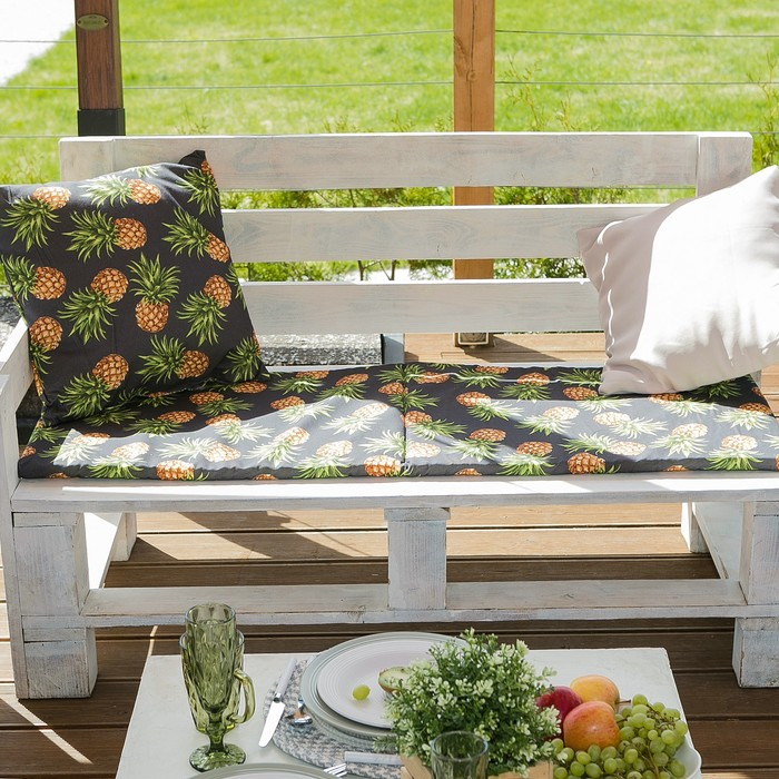 Подушка на трехместную скамейку «Этель» Ананасы, 45×150 см, репс с пропиткой ВМГО, 100% хлопок