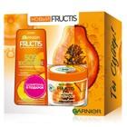 Подарочный набор Fructis: Шампунь для волос «SOS Восстановление» с Керафилом и Маслом Амлы, 250 мл, Маска для волос 3в1 «Superfood Папайя» для поврежденных волос, 390 мл