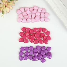 """Бусины для творчества """"Сердце"""", 10 мм, 30 грамм, светло-розовые, розовые, фиолетовые"""
