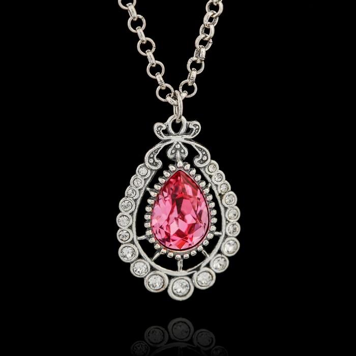 """Кулон """"Бернандот"""", цвет розовый в серебре"""