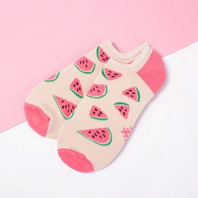"""Носки укороченные """"Арбузы"""" р. 36-39 (23-25 см), бежевый/розовый"""