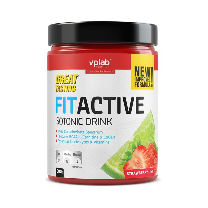 Посттренировочные комплексы VPLAB FitActive Isotonic Drink / 500 g / клубника лайм