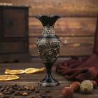 """Интерьерный сувенир ваза """"Чёрная с золотом"""" h -14 см, d-6 см"""