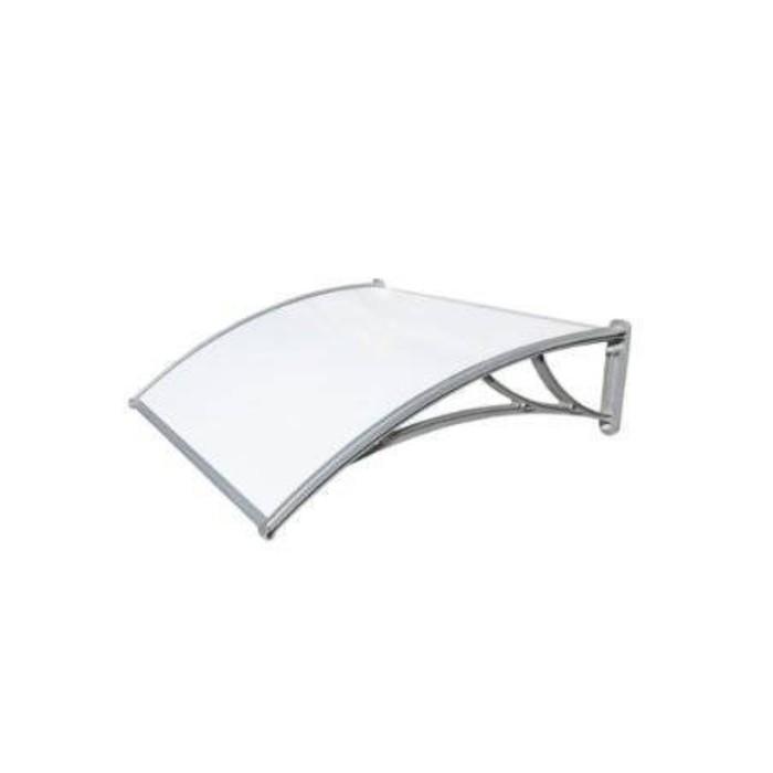 Защитный козырёк для крыльца 1200 КС-Пбл молочный, с поликарбонатом
