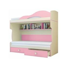"Кровать 2-й этаж + тахта ""Радуга"", фламинго, 2032х1870х852"