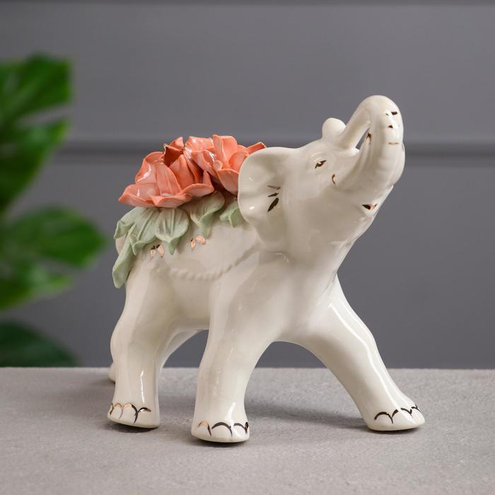 """Статуэтка """"Слон"""", белая, цветная лепка, керамика, 19 см, микс"""