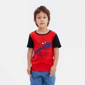 """Футболка детская MARVEL """"Человек паук"""", рост 98-104 (30), красный/чёрный"""