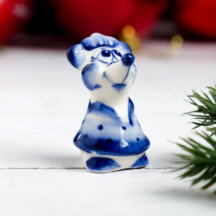 Сувенир «Мышка в платье», 4,5 см, гжель