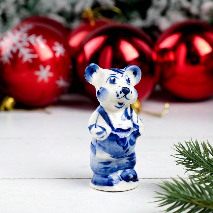 Сувенир «Мышонок Лёня», 7,5 см, гжель