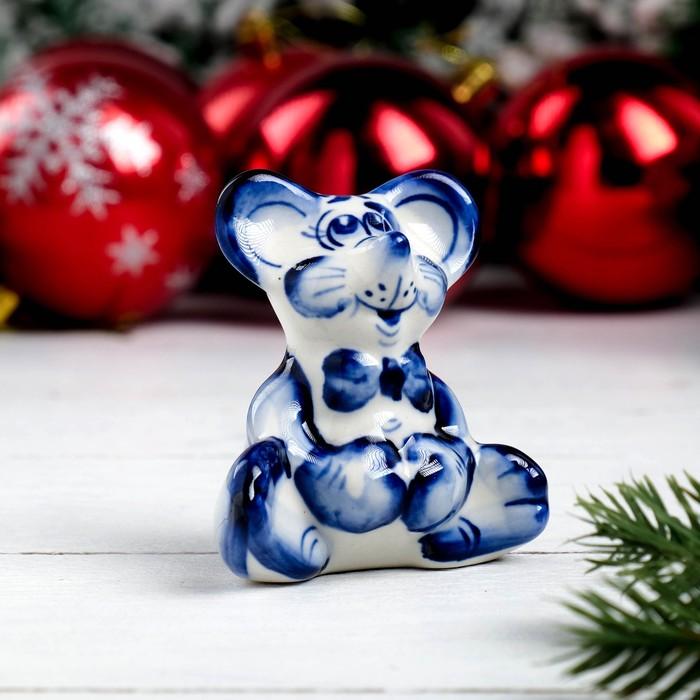 Сувенир «Мышка джентельмен», 7,5 см, гжель