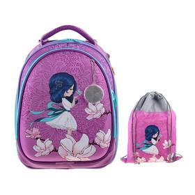 Рюкзак каркасный, Luris «Колибри 3», 37 x 28 x 19 см, наполнение: мешок для обуви, «Девочка»