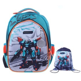 Рюкзак каркасный, Luris «Джерри 2», 38 х 28 х 18 см, наполнение: мешок для обуви «Робот»