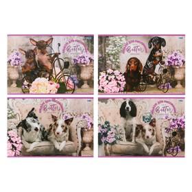 Альбом для рисования А4, 16 листов на скрепке «Собаки с цветами», обложка мелованный картон, МИКС